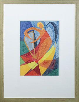 Stickpackung Engel mit Harfe