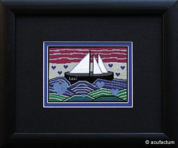 Stickpackung Boot und Wellen