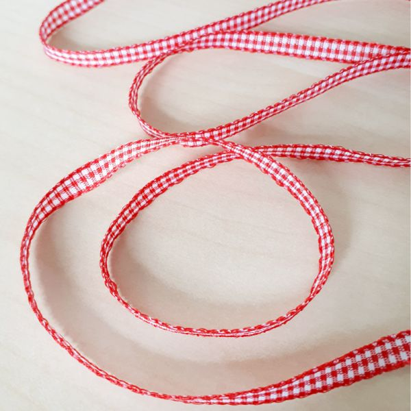 Karo-Band Mini-Vichy rot-weiß 5 mm