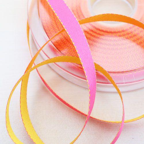Satinband Surprise pink-gelb 10 mm breit
