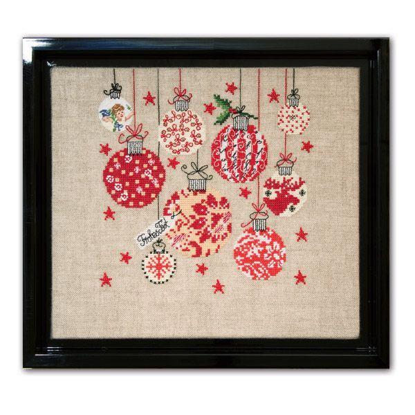 Stickpackung Weihnachtskugeln Mustertuch - 24098-04