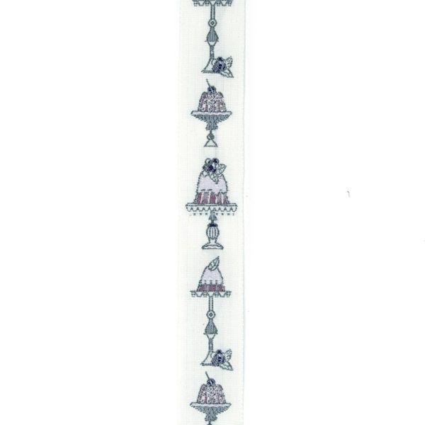 Webband Törtchen weiß-violett 2 cm breit - 35108-04