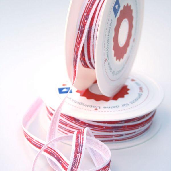 Bedrucktes Band Pinselstrich rot 1 cm breit - 35118-01