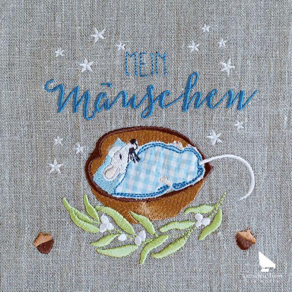 Stickdatei Mäuschen im Nussbett - 2-4035-01