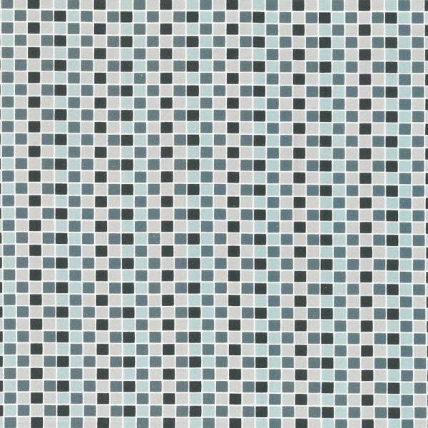 Baumwollstoff Quadrate grau-türkis  145 cm breit