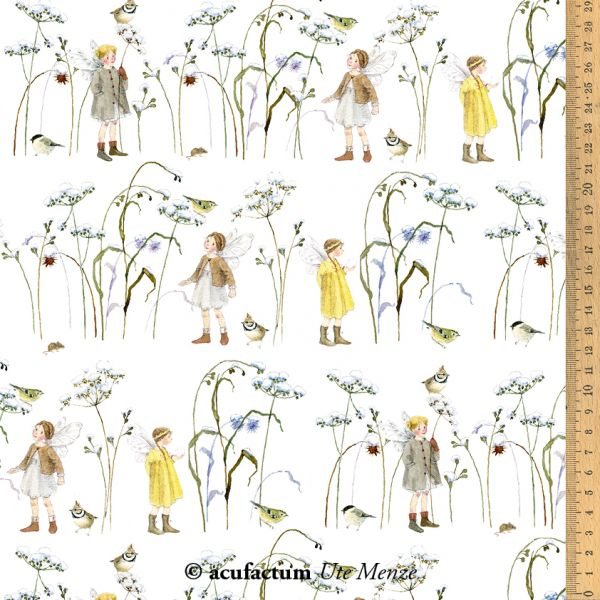 Baumwollstoff Elfen im Wintergras 155 cm breit