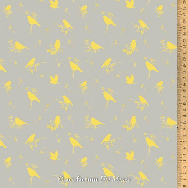 Baumwollstoff Volgelzeit gelb  145 cm breit