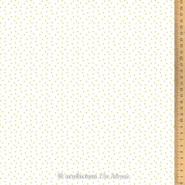 Baumwollstoff Tupfen weiß- gelb 155 cm breit