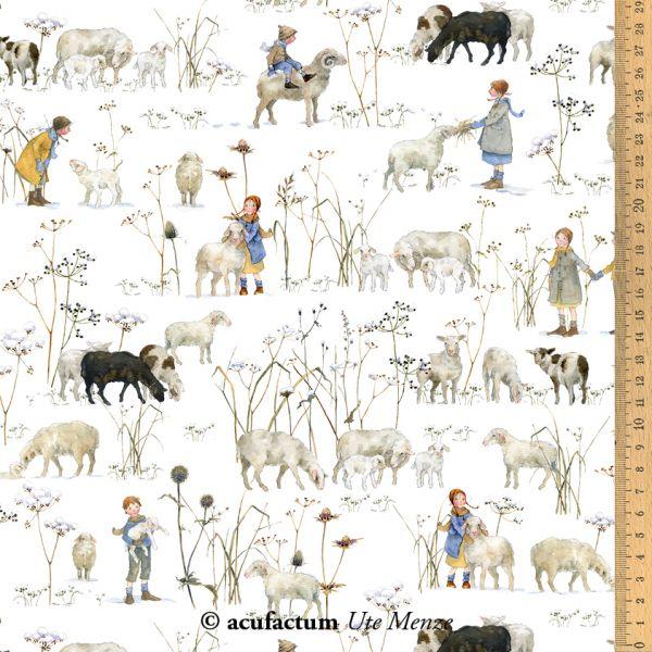 BW-Stoff Winterkinder + Schafe