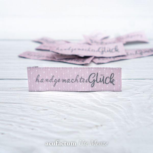 Webetikett handgemachtes Glück, rosa
