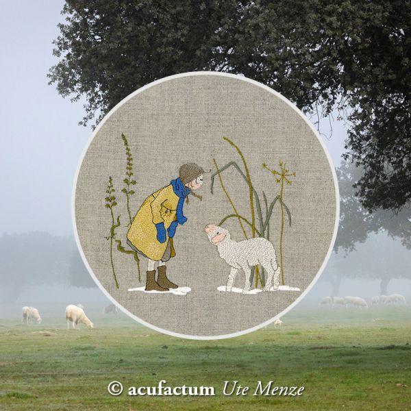 Stickdatei Mädchen mit Lamm