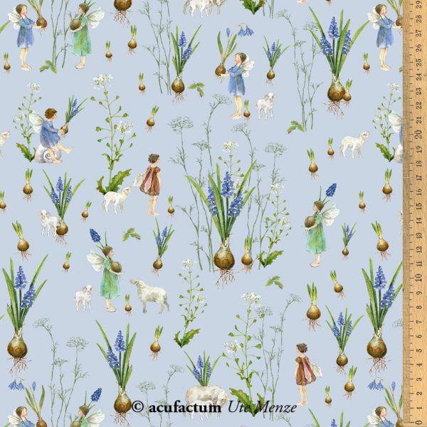 Baumwollstoff Frühlingselfen blau