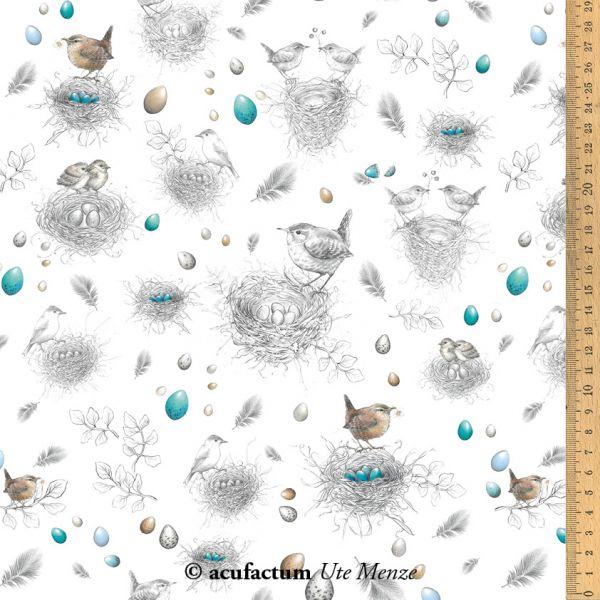 Baumwollstoff Vogelnester - 3523-789