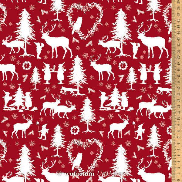 Baumwollstoff Wichtelwald rot - 3523-838-01