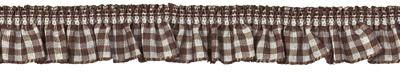Rüschenband braun-beige kariert elastisch 19 mm breit - 6425-1824-019-006