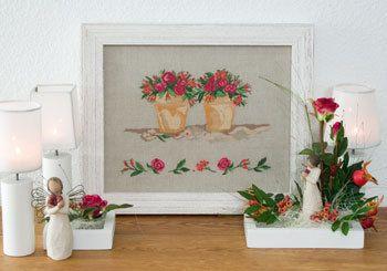 Stickpackung Rosen im Herbst