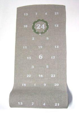 Leinenband Advent ungebl. weiß, 34cm