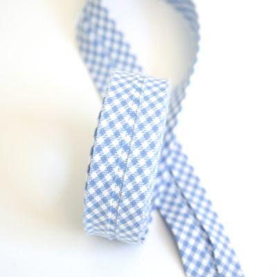 Schrägband blau-weiß kariert