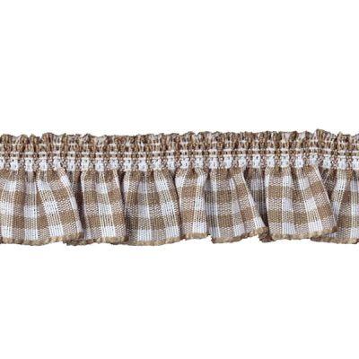 Rüschenband hellbraun-weiß kariert elastisch 19 mm breit