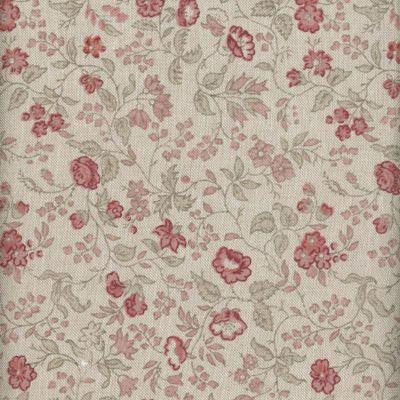 Baumwollstoff Blütenranke natur-rot