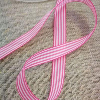 Webband Streifen pink-weiß 10mm
