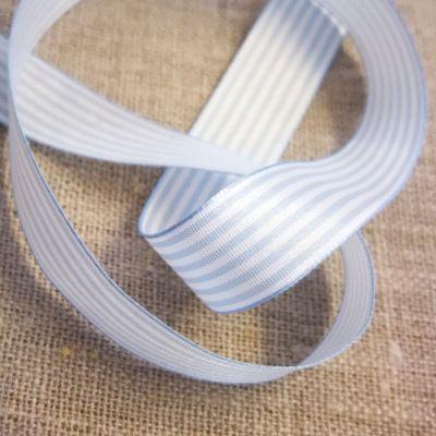 Webband Streifen hellblau-weiß 15mm