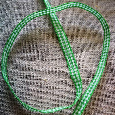 Karo-Band Mini-Vichy grün/weiß kariert