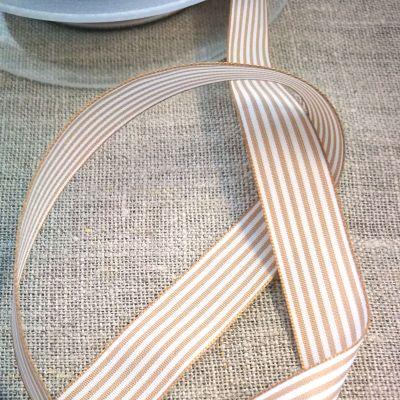 Webband Streifen beige-weiß 15mm