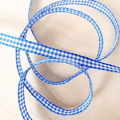 Karo-Band Mini-Vichy blau/weiß 5 mm