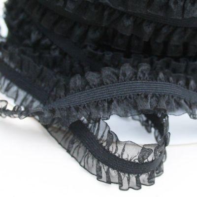 Rüschenband Frivole schwarz elastisch 15 mm breit