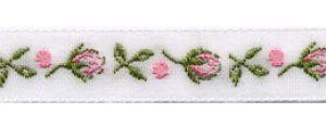 Webband Rosenknospe weiß-rosa 1 cm breit