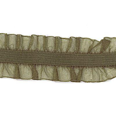 Rüschenband Frivole olivgrün elastisch 15 mm breit