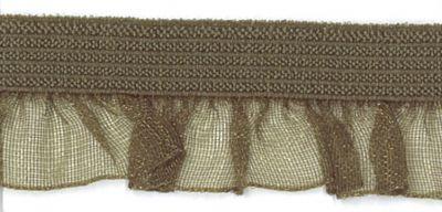 Rüschenband Organza oliv-grün elastisch 19 mm breit