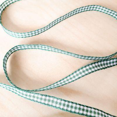 Karo-Band Mini-Vichy dunkel-grün/weiß kariert 5 mm