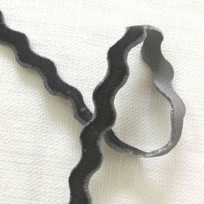 Samt-Zackenlitze grau 9 mm breit