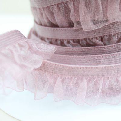 Rüschenband Organza altrosa elastisch 19 mm breit