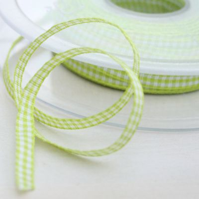 Karo-Band Mini-Vichy hellgrün/weiß kariert 5 mm breit