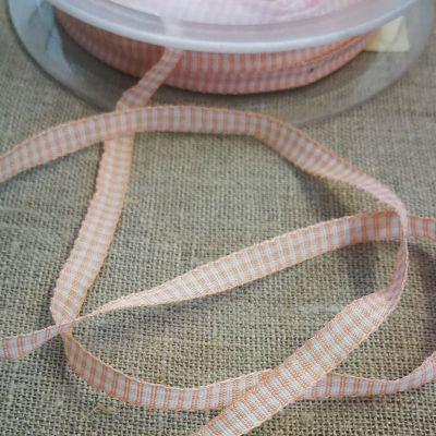 Karo-Band Mini-Vichy lachsrosa/weiß