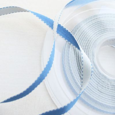 Satinband Surprise blau-weiß 6 mm breit
