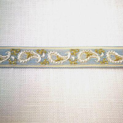 Band Cachemire hellblau-gold 15 mm breit