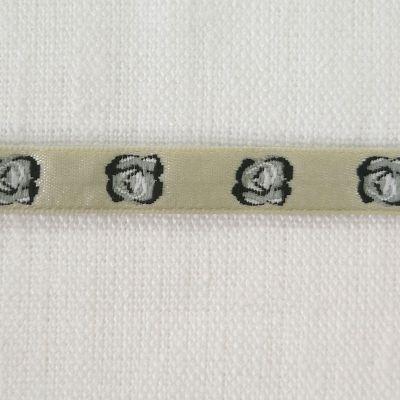 Webband Rose, weiß  9mm breit