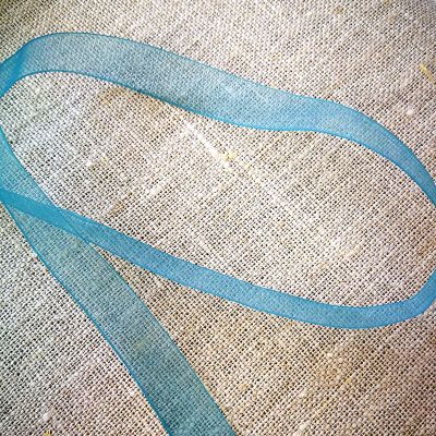 Organzaband matt petrol 10 mm breit