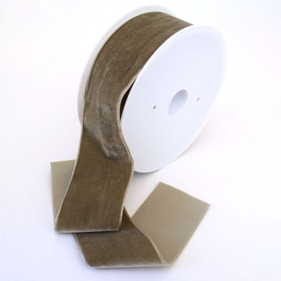 Samtband graubraun 50 mm breit