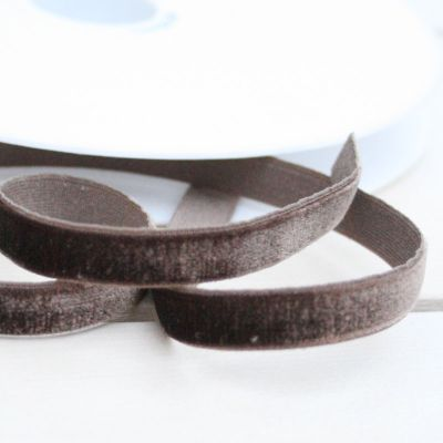 Samtband dunkelbraun elastisch 9 mm breit