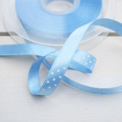 Satinband  Pünktchen hellblau/weiß 10 mm breit