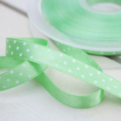 Satinband  Pünktchen hellgrün/weiß 10 mm breit