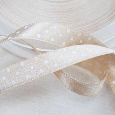 Satinband  Pünktchen beige/weiß 10 mm breit