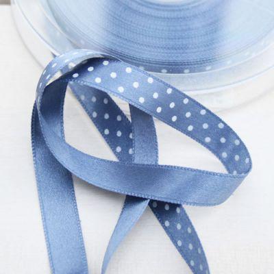 Satinband  Pünktchen blau/weiß 10 mm breit