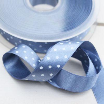 Satinband  Pünktchen blau/weiß 15 mm breit