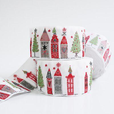 Webband Weihnachtsstadt weiß 5 cm breit
